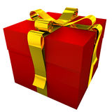 Red Gift With Yellow Ribbon-1. 3d render of red gift with golden ribbon. These items are ideal for decorate your greeting e-mail, greeting card, web-site, flyer Stock Images