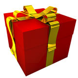 Red Gift With Yellow Ribbon-2. 3d render of red gift with golden ribbon. These items are ideal for decorate your greeting e-mail, greeting card, web-site, flyer Stock Photos
