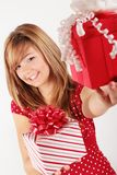 The red gift is for you Stock Photo