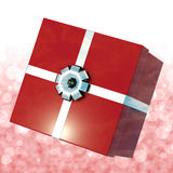 Red Giftbox With Bokeh Background Stock Photo