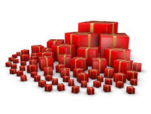 Red giftboxes Stock Photos