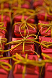 Red gifts. Many red gifts in orderliness Royalty Free Stock Images