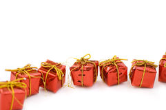 Red gifts. Many red gifts in orderliness Royalty Free Stock Photos