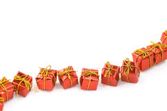 Red gifts. Many red gifts in orderliness Stock Photo