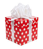 Red gifts boxes gifts tied with white bows ribbon isolated Royalty Free Stock Photos