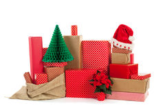 Red gifts for Christmas Royalty Free Stock Photography