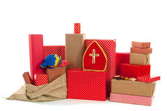 Red gifts for Dutch Sinterklaas Royalty Free Stock Photo