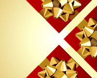 Red gifts with gold bow top view Stock Photo