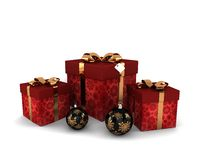 Red gifts with gold decorative bow and decorations Royalty Free Stock Image