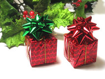 Red Gifts and Holly Royalty Free Stock Image