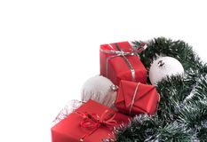 Red gifts with silver tinsel Stock Image