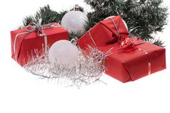 Red gifts with silver tinsel Royalty Free Stock Photography