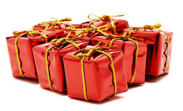 Red gifts on a white background Royalty Free Stock Images