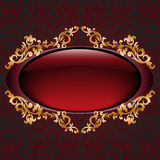 Red with gilt vignette. Glossy dark red vignette with gilded ornament Royalty Free Stock Image