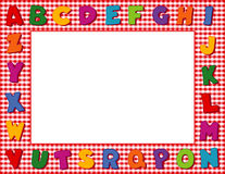Red Gingham Alphabet Frame. Multicolored alphabet on a red gingham frame with copy space for school announcements, posters, fliers, scrapbooks, albums and back Royalty Free Stock Photography