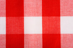 Red Gingham Background. Red and white Gingham or checked tablecloth background Royalty Free Stock Photos