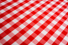 Red Gingham Background. Red and white Gingham or checked tablecloth background Royalty Free Stock Photography