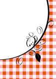 Red gingham and design. Illustrated red and white gingham with black floral scrolls Stock Images
