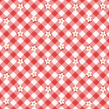 Red gingham fabric cloth with flowers, seamless pattern included. Red and white floral gingham cloth background with fabric texture, plus seamless pattern Stock Photography