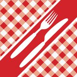 Red Gingham Menu Card. Menu Card - Red and White Gingham Texture and Cutlery / vector vector illustration
