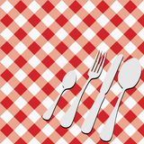 Red Gingham Menu Card. Menu Card - Red and White Gingham Texture and Cutlery / Vector Royalty Free Stock Photos
