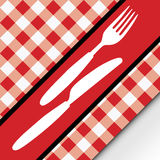 Red Gingham Menu Card. Menu Card - Red and White Gingham Texture and Cutlery - Vector Royalty Free Stock Photography