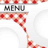 Red Gingham Menu Card Royalty Free Stock Photography