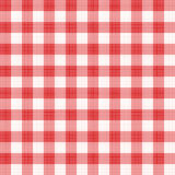Red gingham repeat pattern. Easy tilable (you see 4 tiles) red gingham repeat pattern (print, seamless background, wallpaper) with fabric texture visible. Flat stock illustration