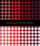 Red Gingham Seamless Designs. Eight seamless gingham pattern designs collection Stock Photo