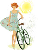 Red girl with bicycle. Vector illustration of a cute red teen girl walking with a bicycle in summer time over white background Royalty Free Stock Photo
