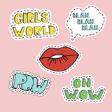 Red girl lips and word elements in pop art style. Hand drawn illustration in patch style.  vector illustration