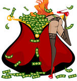 Red girl and money Royalty Free Stock Photography
