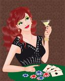 Red girl plays poker.  Royalty Free Stock Photography