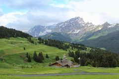 Mountain view in Switzerland Stock Images