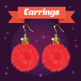 Red and girlish fur earrings on colored background. With red ribbon royalty free illustration