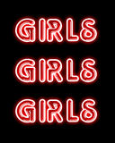 Red girls PARTY neon sign. Red girls neon sign on black backdrop Stock Photo