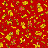 Red girly pattern with princess, prince and toys Royalty Free Stock Photography