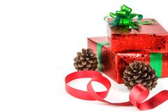 Red git box with green bow for Christmas day Stock Photos