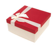 Red give box with ribbon and bow, clipping path included Royalty Free Stock Image
