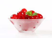Red Glace Cherries. Stoned maraschino cherries candied in sugar syrup Royalty Free Stock Photos