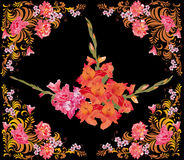 Red gladiolus flowers in rose frame. Illustration with red gladiolus flowers in rose frame Stock Photo