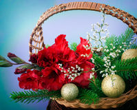 Red gladiolus, golden balls. Are in a wicker basket Royalty Free Stock Photos