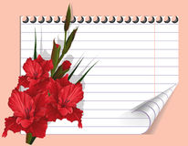 Red gladiolus and a writing-book. Red flower and page of a writing-book. Congratulations and wishes. Celebratory illustration for cards, drawing up of the menu Stock Photo