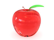 Red glass apple with leaf on white Stock Image