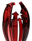 Red Glass Arrow Bulge Rise. Thin Glass 3d Arrows, isolated vector illustration