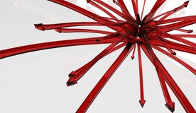 Red Glass Arrow Splash Stock Image