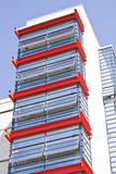 Red glass Balconies in a modern  building Royalty Free Stock Photo