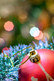 Red glass ball lie in Christmas tinsel. Stock Photos