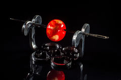 Red glass bead on stand Stock Photography