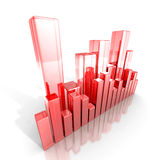 Red glass business bar graph diagram. 3d render illustration Stock Image